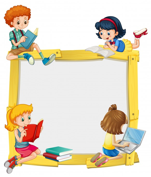 Kiddingly - border design with kids reading and doing homework 1308 435