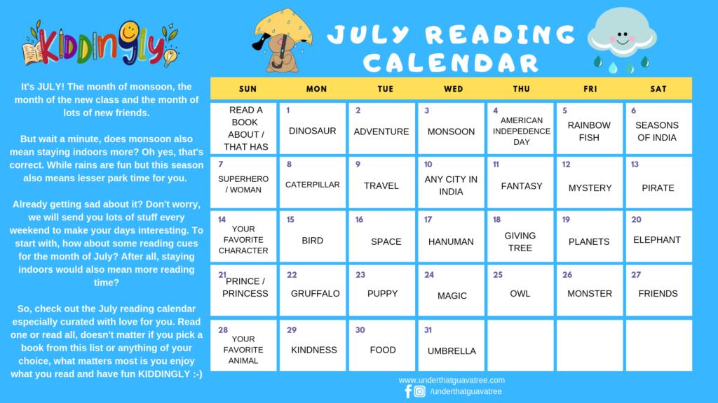 Kiddingly - JULY READING CALENDAR by KIDDINGLY 1024x576
