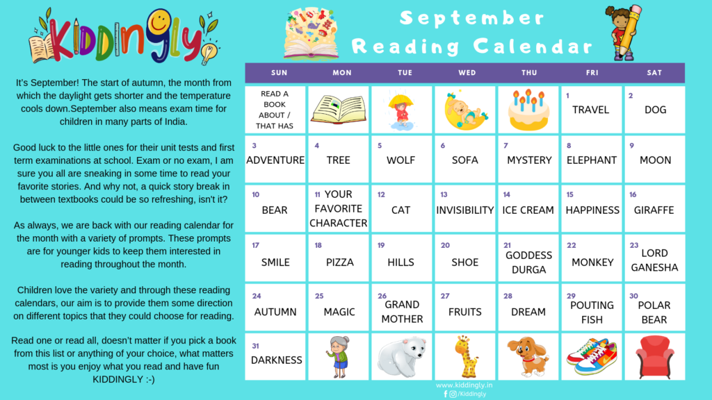 September Reading Calendar For Kids