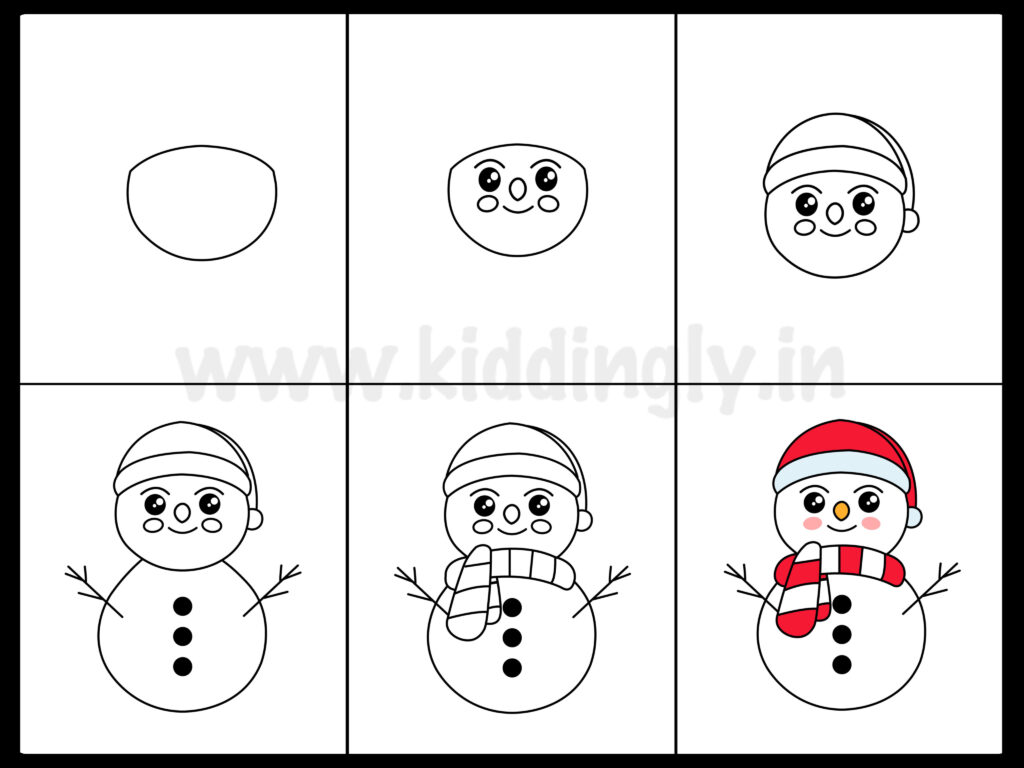 Kiddingly - Snowman Drawing Tutorial Kiddingly 1024x768